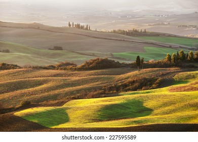 The beautiful Tuscan countryside around San Quirico d'Orcia, Italy