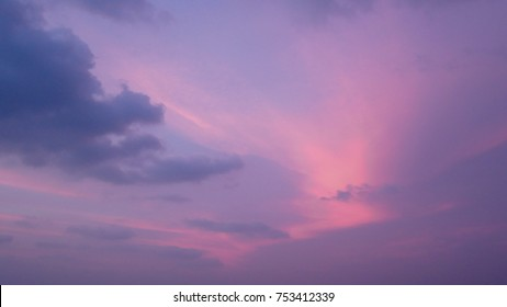 Beautiful twilight dusk sky pink and purple color in the evening summer day background