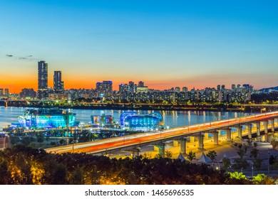 So beautiful twilight at Han river,Seoul city, South Korea.