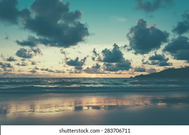 Beautiful twilight over the sea - soft focus with film filter