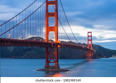 Beautiful twilight scene of famous Golden Gate bridge in San Francisco, California,USA