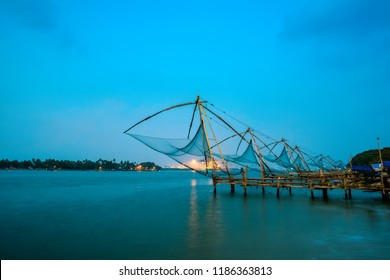 beautiful twilight scene of  Kochi chinese fishnets in Kochi, Kerala. Fort Kochin, south India
