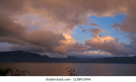 A beautiful twilight sky at Lake Toba, Samosir Island-Indonesia. It was seen from Carolina cottage in Samosir Island.