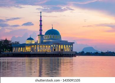 Beautiful Twilight Sunset with Waterfront landmark in Kota Kuching and Floating mosque of Kuching Sarawak, Borneo  - Shutterstock ID 1435091105