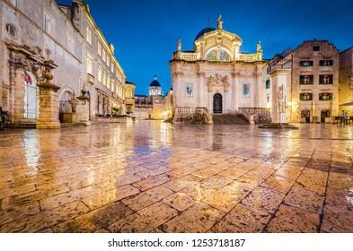 Beautiful twilight view of the historic town of Dubrovnik with famous Stradun main street at dawn, Dalmatia, Croatia