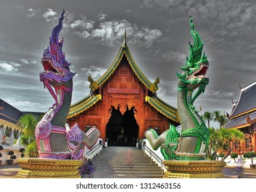 beautiful of two Naga in front of the church at Banden temple, Chiang Mai, Thailand. Naga sculpture in front of the Thai temple and sky background. Thai modern  culture.