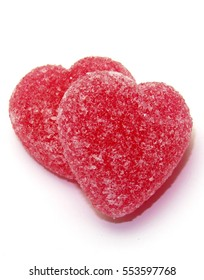 A beautiful  two red heart candies coated with sugar.  Love colorful sweet candies, hearts shaped candy 14 February. Concept for Valentines day.