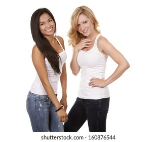 beautiful two women wearing casual outfit on white isolated background