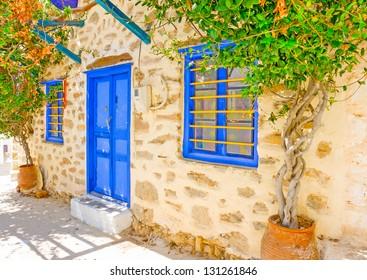 Beautiful typical cycladitic scene in Langada a village of Amorgos island in Greece