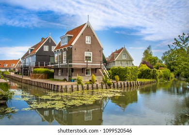 Beautiful typical fisherman village houses in Marken island Waterland, the Netherlands in the Ijsselmeer or formerly Zuiderzee, the Netherlands