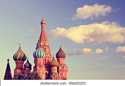 beautiful typical Russian cathedral with colorful domes Moscow view vintage warm summer tones edit
