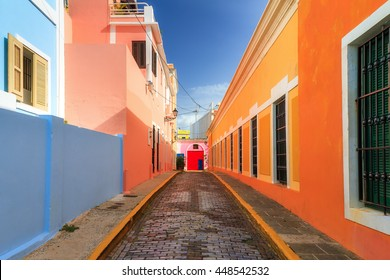 Beautiful typical traditional vibrant street in San Juan, Puerto Rico