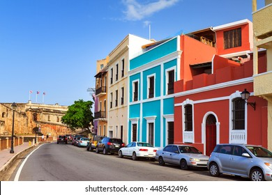 Beautiful typical vibrant street in San Juan, Puerto Rico, leading to fort San Cristobal