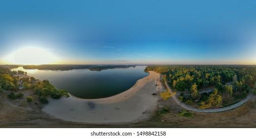 Beautiful Ukrainian aerial landscape in the park area. 360 degree panorama. Zhytomyr, Ukraine