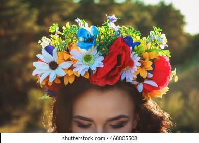 Beautiful Ukrainian bride with large flower crown
