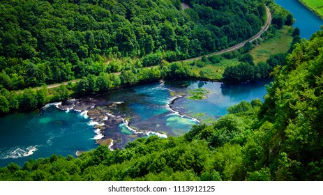 Beautiful Una river seen from Lohovo in Bosnia and Herzegovina. Photo taken at the Una National Park. The river forms the border between Bosnia and Croatia.
