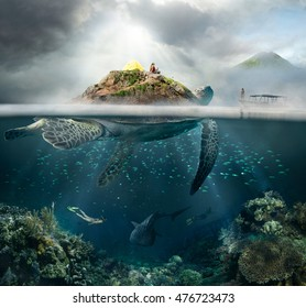 Beautiful underwater view island-turtle and traveler above and below the water surface in turquoise waters of tropical ocean.