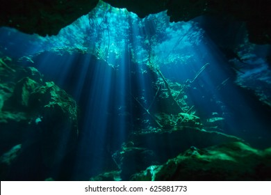 Beautiful underwater world of Azul cenote