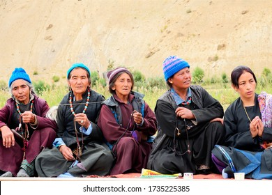 Beautiful Unidentified buddhist women's are gathering their religious festival at Mulbekh Leh  Ladakh India- Septemeber 2014
