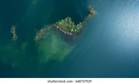 Beautiful uninhabited island from above