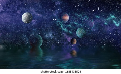Beautiful unusual space planet in space reflected in water. galaxy stars night sky ,Elements of this Image Furnished by NASA ,