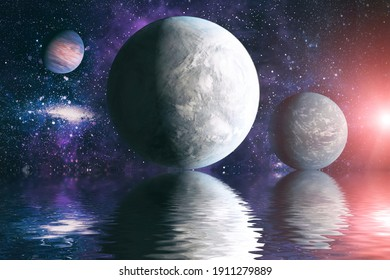 Beautiful unusual space planet in space reflected in water, galaxy stars night sky ,Elements of this Image Furnished by NASA ,