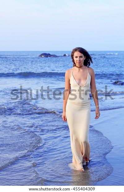 Beautiful Unusual Woman Walking On Beach Stock Photo Edit Now