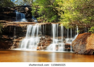 The beautiful upper tier of the Wentworh Falls in Blue Mountains, New South Wales, Australia.