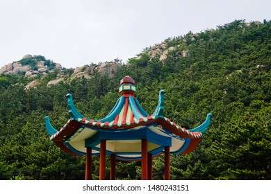 Beautiful upturned eave roof of pavilion in taiqing scenic area of laoshan national park Qingdao china