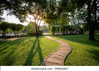 Beautiful urban city park at sunny day Bangkok city, Thailand. Small concrete walkway on green grass lawn in city park with warm sunset sunlight. Outdoor city park landscape photography, Bangkok park