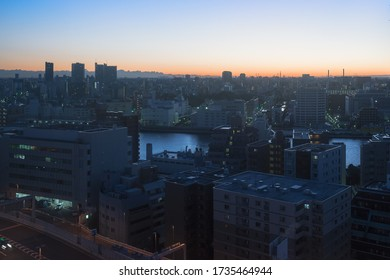 Beautiful urban scenery of the city center of Tokyo near the sumida river.