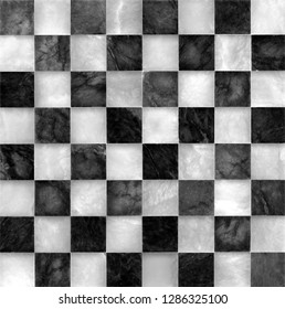 Beautiful used marble chessboard. Black and white.
