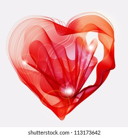 Beautiful Valentine's background with abstract red heart, illustration