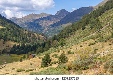 Beautiful Valley with Hut  in the Catalan Pyrenees