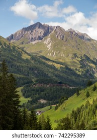 The beautiful valley of Kals am Grossglockner in Tirol, Austria, with the iconic mountain Kendelspitze, part of the Hohe Tauern nature reserve, in the background.