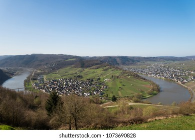 A beautiful valley of the Moselle river in Germany.