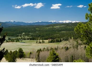 Beautiful valley, near Angel Fire, New Mexico, looking toward Wheeler Peak and Sangre de Cristos range