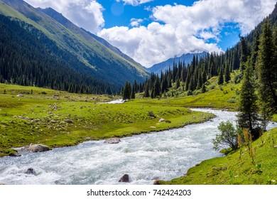 Beautiful valley with the river and meadows, Altyn Arashan, Karakol national park, Kyrgyzstan