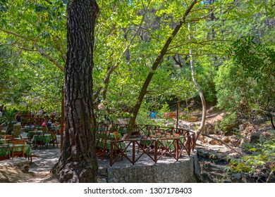 The beautiful Valley of the Seven Springs 'Epta Piges' at natural attraction on the Island of Rhodes, Dodecanese, Greece.