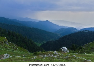 Beautiful valley view from Dainkund peak, Dalhousie, Himachal Pradesh