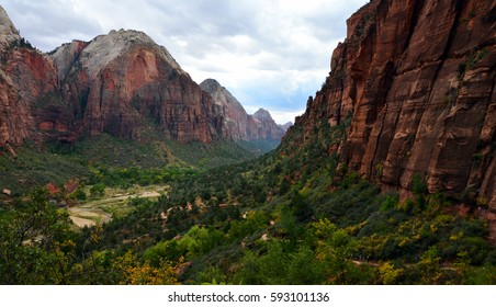 Beautiful Valley with Virgin River in Zion National Park, Utah, USA (seen from Angels Landing Trail)