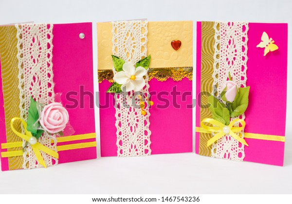 Strange Beautiful Varied Handmade Greeting Cards On Stock Photo Edit Now Funny Birthday Cards Online Alyptdamsfinfo