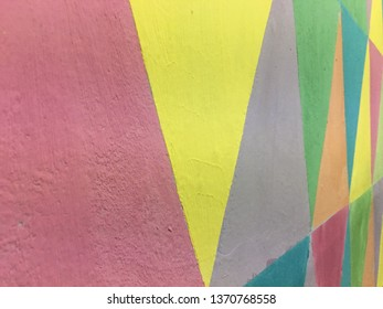 Beautiful various triangular colors on the wall.