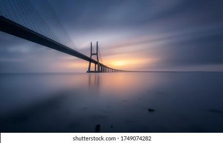 The beautiful Vasco da Gama bridge at sunrise, in the Portuguese capital, Lisbon.