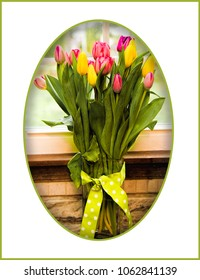 Beautiful vase of pink and yellow tulips in tall vase with bow inset in white oval frame.