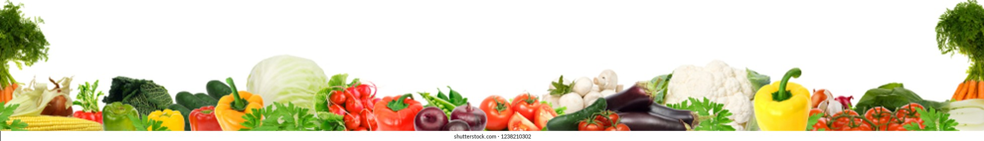 Beautiful vegetables on a white background.