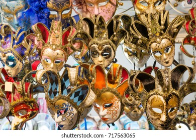 Beautiful Venetian masks background. Street shop in Venice Italy outdoors. Tourism and travel concept.