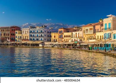 Beautiful venetian port of Chania, Crete island, Greece