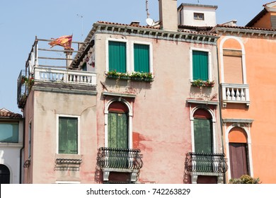 Beautiful venetian window of a typical house in Venice,summer day, Italy