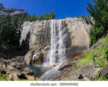The beautiful Venral Fall with rainbow at Yosemite National Park